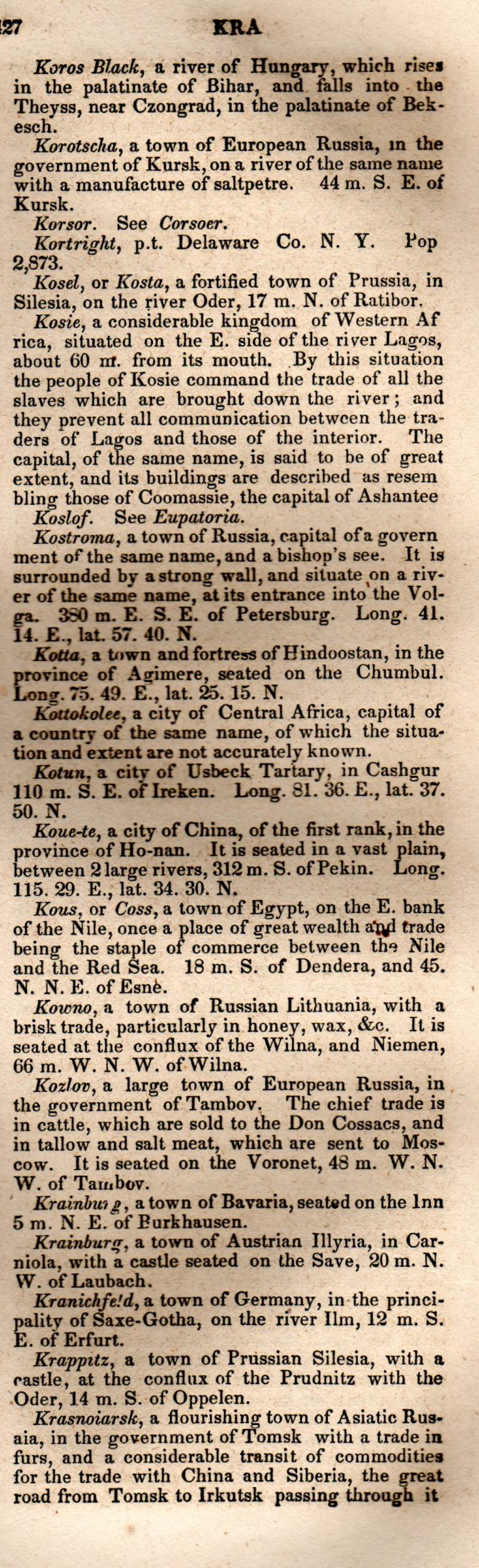 Brookes' Universal Gazetteer (1850), Page  427  Right Column