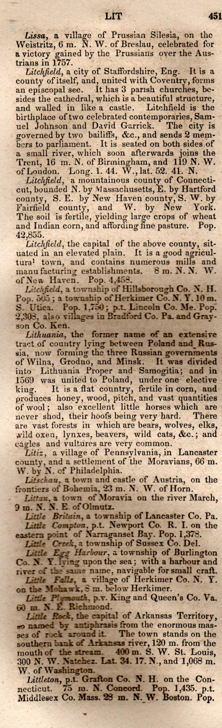 Brookes' Universal Gazetteer (1850), Page  451  Left Column