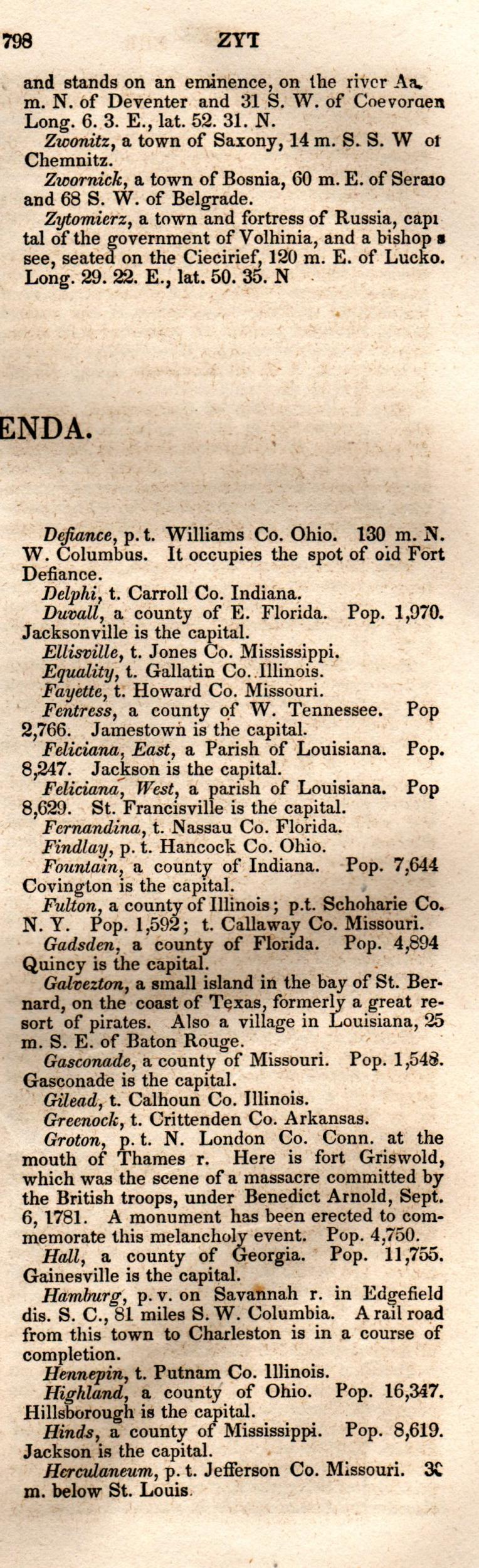Brookes' Universal Gazetteer (1850), Page  798  Right Column